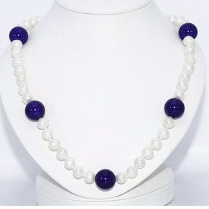 💯 REAL WHITE PEARL & AMETHYST NECKLACE 14K GOLD